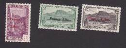 Reunion, Scott #181, 191, 193, Mint Hinged, Scenes Of Reunion Overprinted, Issued 1943 - Reunion Island (1852-1975)