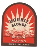 Ancienne étiquette Bière  Double Blonde  Bière De Table Brasserie Plichon Maing Nord 59 - Bière