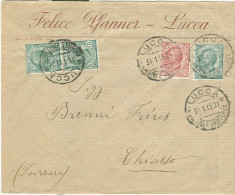 FELICE PFANNER, LUCCA, BUSTA COMMERCIALE VIAGGIATA  1915, LUCCA-CHIASSO, NOTA STORICA - Historische Dokumente