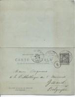 France Entier CPRP 10c C.Paris 22 En 1897 V.Gand C.d'arrivée PR1910 - Entiers Postaux