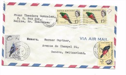 British Honduras 1964 BELIZE,  4 Stamps BIRDS, MASSENA TROGON, SCARLET-RUMPED TANAGER, RED-LEGGED  HONEYCREEPER, Lettre - Parrots