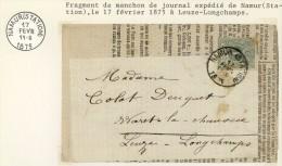 Fragment Van Dagblad Met Nr 26 Van NAMUR(STATION) Naar LEUZE-LONGCHAMPS - 1869-1883 Leopold II