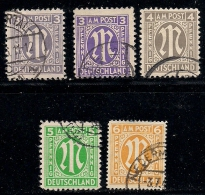 GERMANY, Allied Occupation, 1945, Cancelled Stamp(s) Number Stamps, MI 16=35   #13407, 5 Values Only - American,British And Russian Zone