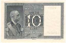 ITALY 10 LIRE 1939 PICK 25c UNC - [ 1] …-1946 : Kingdom