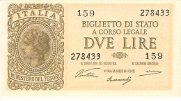 ITALY 2 LIRE 1944 PICK 30a UNC - [ 1] …-1946 : Koninkrijk