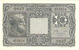 ITALY 10 LIRE 1944 PICK 32c UNC - [ 1] …-1946 : Kingdom