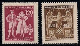 GERMANY, BOHMEN & MAREN, 1944, Hinged Unused Stamp(s)  Protectorates, MI 133=135  #13454, - Occupation 1938-45