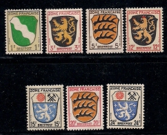 GERMANY, ALLIED OCCUPATION FRENCH, 1945, Hinged Unused Stamp(s) Coat Of Arms, MI 1=10  #13403, 7 Values Only - French Zone