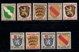 GERMANY, ALLIED OCCUPATION  FRENCH, 1945, Hinged Unused Stamp(s) Coat Of Arms, MI 1=10 #13412, 9 Values Only - French Zone
