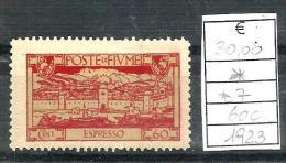 1923 FIUME  Espresso  N.7   60c  Nuovo * MLH - 8. Occupazione 1a Guerra