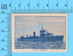 "H.M.S. Broke ( #41 ""Faulknor-class Destroyer "", Boat, Navire, British Consol's, 1947 ) Tobbaco Card Recto/Verso - Tobacco (related)"