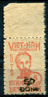 NORTH VIETNAM 1956 Ovpt 50 Dong On 5d. - Sc.50 (Mi.53, Yv.62) MNG (as Issued) Perfect (VF) - Vietnam