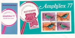 Suriname 1977 Amphilex Miniature Sheet FDC - Birds
