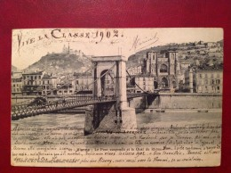 38 Isere VIENNE Le Pont Suspendu Et Le Quai Du Rhône (Expéditeur Illustrateur) - Vienne