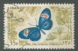 "YA13 Lebanon RARE Postmark: 1966 "" TYR "" Circular Type - 30p Butterfly Stamp - Lebanon"