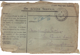 JU-9-1916 Fieldpostcover On Active Service From F.P.O. 182 To Birmingham - 1902-1951 (Rois)