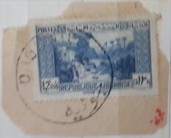 "YA13 Lebanon RARE Postmark: 1946 "" DJOUNIE "" Circular Type - On Piece W/ 12p50 Paysage Libanais Stamp - Lebanon"