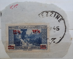 "YA13 Lebanon RARE Postmark: 1945 "" DJEZZINE "" Circular Type - On Piece W/ 12p50 Ovpt On 7p50 Paysage Libanais Stamp - Lebanon"