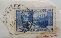 "YA13 Lebanon RARE Postmark: 1946 "" DJEZZINE "" Circular Type - On Piece W/ 12p50 Paysage Libanais Stamp - Lebanon"
