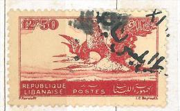 """YA12 Lebanon RARE Postmark: 1947 """" TRIPOLI LIBAN """" Circular Type - On 12p50 Heron Stamp - Lebanon"""