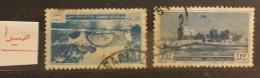 """YA13 Lebanon RARE Postmarks: 1950s """" SAIDA LIBAN """" Circular - On 12p50 Nahr El Kalb & 25p Saida Fortress - Lebanon"""