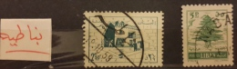 """YA13 Lebanon RARE Postmarks: 1959 """" NABATIYE """" Circular - On 2 Stamps - Lebanon"""