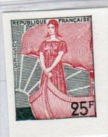 MARIANNE A LA NEF 1959 - 25F N° 1216**: Retirage Sur Papier Carton - 1959-60 Marianne à La Nef