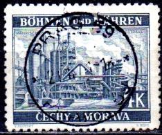 BOHEMIA & MORAVIA 1939 Ironworks, Moravska-Ostrava  -  4k. - Grey   FU - Bohemia & Moravia