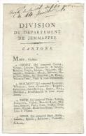 Imprimé Reprenant Les Communes Du Département De Jemmappes : Mons, Chimay, Beaumont, Thuin, Binche, Roeulx, Paturages, .