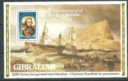 Gibraltar Bloc De Feuille Neufs Sans Charniére, MINT NEVER HINGED, 175TH  DEATH ANNIV OF NELSON - Gibraltar