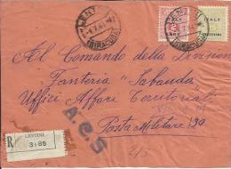 AM04-Fronte Di Raccomandata Al Comando Fanteria Sabauda Con 25 Cent. + 2 £ AMGOT 4.7.1944 - Rara - Occup. Anglo-americana: Sicilia