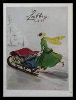 Pub Papier 1948 Mode Tissu Textile LABBEY  Tissus Beauté Femme Luge Traineau Patin à Glace Dessin Regis Manset - Publicités