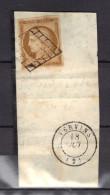 FRANCE N° 1 Obl. Grille S/Frag. De Vervins (impression Fine) SUP. - 1849-1850 Ceres