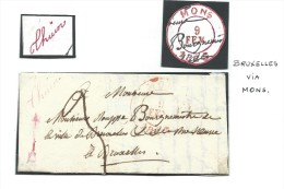 """L. Càd MONS/1835 Manuscrit Distribution """"Thuin"""" En Rouge Pour Bruxelles RR - 1830-1849 (Belgique Indépendante)"""