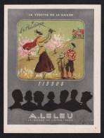 Pub Papier 1947 Mode Beauté Vetements Tissu A LELEU Dessin Regis Manset Femme Joueuse Golf - Publicités