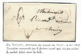 L. Càd THUIN/1847 + CA+ Origine Rurale Manuscrite Thuilies  Pour Thuin. TTB Et RR - 1830-1849 (Onafhankelijk België)