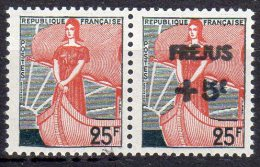 """MARIANNE A LA NEF 1959 - 25F Surchargé """"Fréjus"""": Fausse  Surcharge Tenant à Normal - 1959-60 Marianne à La Nef"""