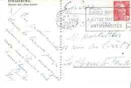 Marcophilie-Flamme STRASBOURG GARE - 1949 - EXIGEZ MOTEURS ET AUTRES MATERIELS ANTIPARASITES -Marianne De Gandon YT 813 - Alsazia Lorena