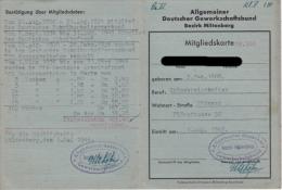 Mitgliedskarte Des Allgemeinen Deutschen Gewerkschaftsbundes - Historische Dokumente