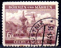 BOHEMIA & MORAVIA 1940 Samson Fountain, Budweis -  6k. - Brown   FU - Bohemia & Moravia