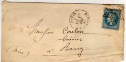Fragment DeLettre Adressée De PARIS A BOURG -  Cachet Etoile De Paris 25  Sur Yvert 29 (76276 ) - 1863-1870 Napoléon III. Laure