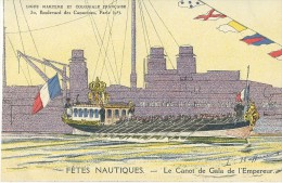 LEON HAFFNER  PEINTRE MARINE FETES NAUTIQUES LE CANOT DE GALA DE L'EMPEREUR  BATEAU NAVIRE ECRITE - Peintures & Tableaux