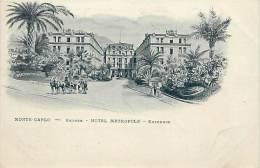 - Ref F144 -  Monaco - Monte Carlo - Entree - Hotel Metropole - Entrance - Carte Illustree - Carte Bon Etat - - Monte-Carlo