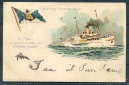 1905 Italy San Remo Hamburg-Amerika Linie Prinzessin Heinrich Steamship Postcard Posted Onboard - France - 1900-44 Victor Emmanuel III