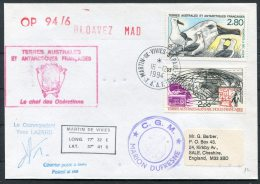 1994 T.A.A.F. France Antarctic Martin De Vivies CGM Marion Dufresne SIGNED Penguin Helicopter Ship Cover - French Southern And Antarctic Territories (TAAF)