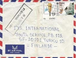 Zaire Congo 1986 Kw..dongo Space Piccard Air Balloon & Rien Ne Remplace La/ POSTE Handstamp Cover - 1980-89: Afgestempeld