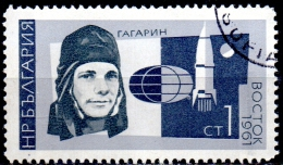 BULGARIA 1966 Russian Space Exploration - 1s Yuri Gagarin And Vostok 1  FU - Used Stamps