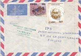 Zaire Congo 1980 Bukavu Einstein Fish & PHIBELZA Green Ink Handstamp Cover - 1980-89: Afgestempeld