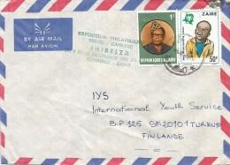 Zaire Congo 1980 Bukavu Mobutu Child Youth & PHIBELZA Green Ink Handstamp Cover - Zaïre