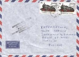 Zaire Congo 1980 Limete German Black Elephant Train & PHIBELZA Black Ink Handstamp Cover - Zaïre